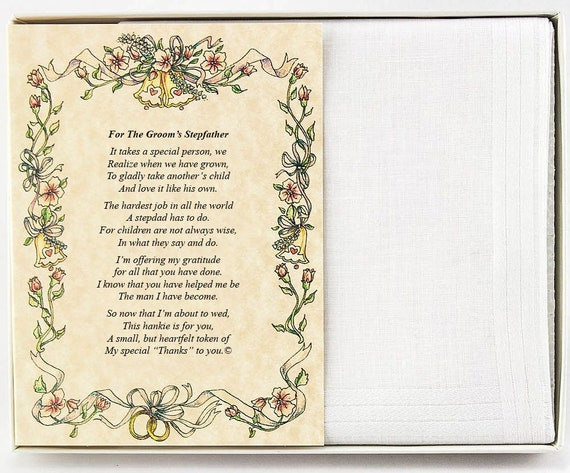 Personalized From the Groom to his Stepfather Wedding Handkerchief - BH145