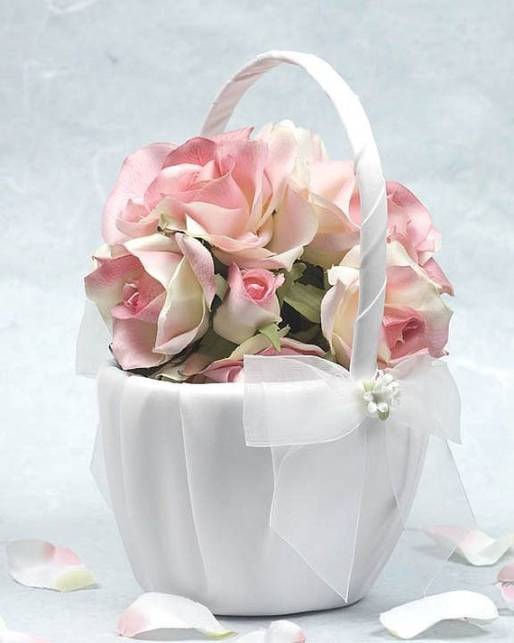Porcelain Rose Bouquet Wedding Flowergirl Basket 80725R