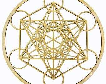 "12"" Metatron's Cube Wall Art   12"" Diameter - 1/8"" Thick   Wood Crystal Grid, Platonic Solids, Zen Wall Ar   Sacred Geometry Art - 903021"
