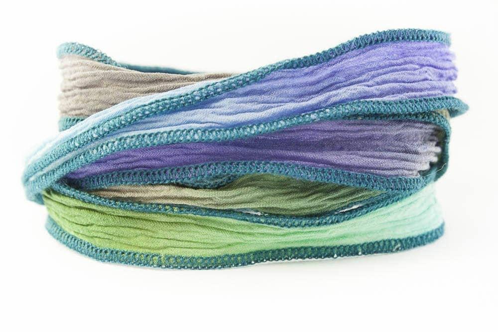 Fait ruban à la main ruban Fait de soie déesse grecque - gris tourterelle, Pervenche, Vert Olive et Turquoise clair avec des bords Teal - 172 f875a1