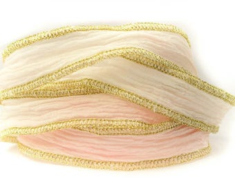 Frozen Rose Handmade Silk Ribbon - Pink and Off- White with Gold Edges - 1143
