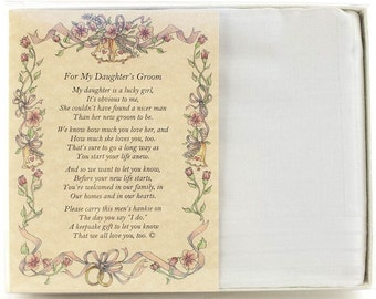 Personalized From the Bride's Parent to the Groom Poetry Wedding Handkerchief - BH140