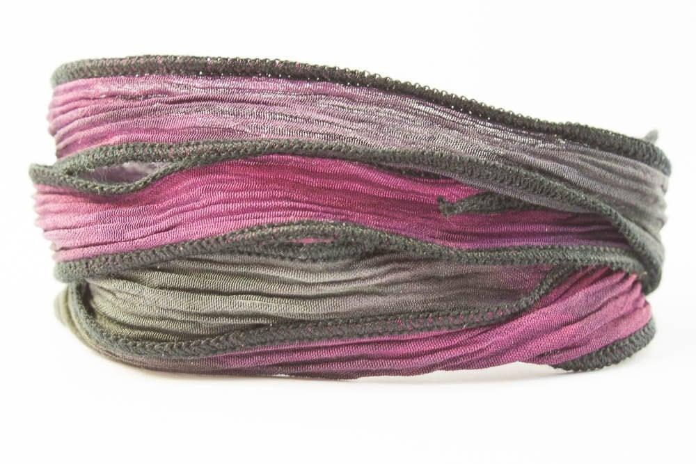Nuit Rose de ruban main de soie à la main ruban - mélangent de rose et noir avec des bords noirs-832 b5b4ed