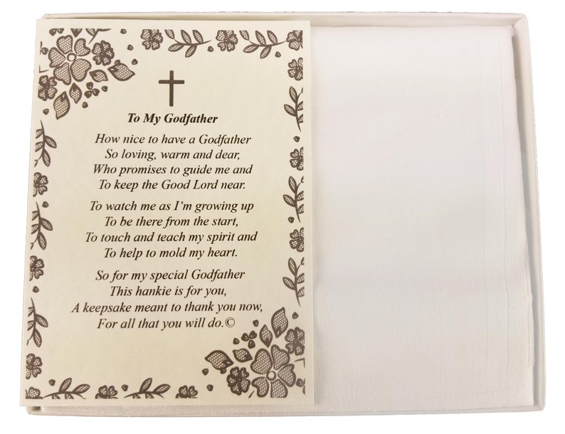 BH209 Personalized Baptism Christening Dedication To My Godfather Poetry Handkerchief Hankies Gift Keepsake