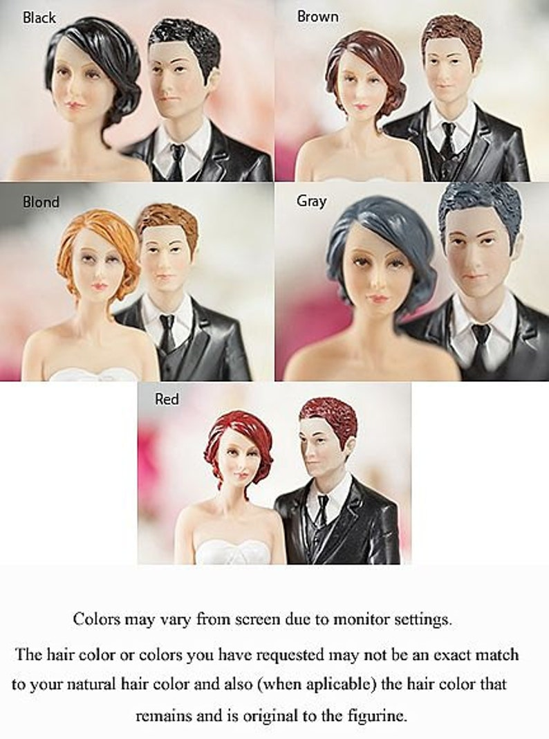 707566 Wedding Bliss African American Wedding Cake Topper Figurine Custom Painted Hair Color Available