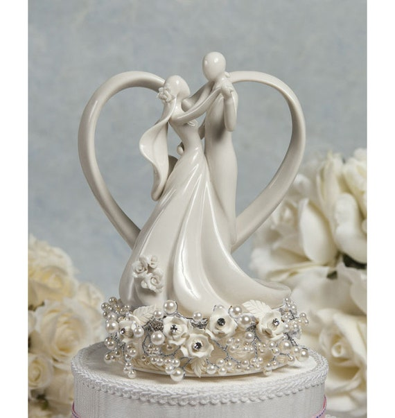 Vintage Inspired Rose Pearl And Heart Wedding Cake Topper 101115