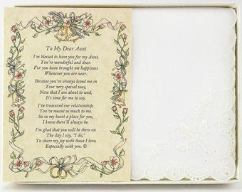 Personalized From the Bride to her Aunt Wedding Handkerchief - BH134