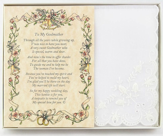 Personalized From the Bride to her Godmother Wedding Handkerchief - BH132
