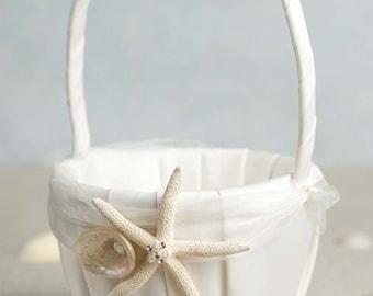 Starfish and Shell Beach Wedding Flower Girl Basket - 80205