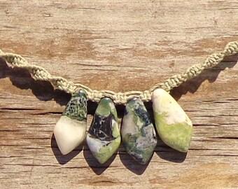 Green Earth Jasper Hemp Necklace