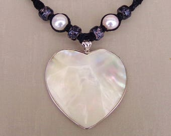 Shell & Sterling Heart and Pearls on Black Hemp Necklace