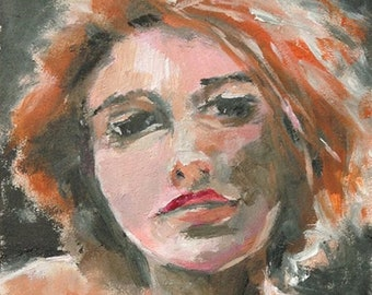 Oil Portrait, The Sultry One, Oil Painting on Cradled Board, 5 x 7, Female Portrait, Miniature Painting, Small Art, Red Hair, Desk Top Art
