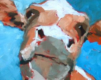 Cow Painting, Cow Print, Cow Wall Art, Cow Wall Decor, 8 x 10, Free Shipping, Cute Cow, Animal Art, Farm Art, Orange and Blue, Farm Painting