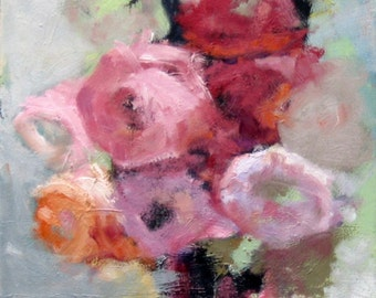 Still Life, Flower Painting, Oil Painting Print, Red and Pink, Wall Art, Decorative Art, Free Shipping, Abstract Flowers, Flower Art
