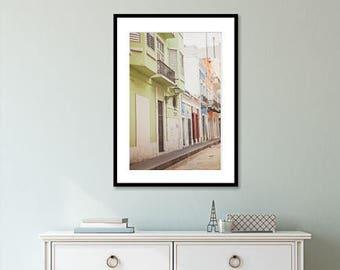 puerto rico street art, old san juan, san juan photography, colorful city print, pastel city print, colorful doors, puerto rican art, decor