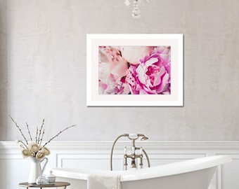 peony still life photograph, pink peony floral romantic cottage chic lifestyle photo bedroom bathroom large wall art home decor