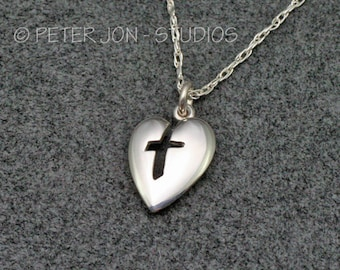 "CROSS IN HEART Necklace in Sterling Silver, includes 18"" chain"