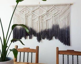 Large macramé wall hanging. Your choice of dipdye color. weaving/bohemian wedding backdrop/boho decor/tapestry/wall art/decor.