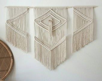 Large macramé trio/weaving/ tapestry/boho wall hanging/boehmian decor/wall art.