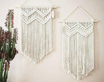 SALE! Macramé wall hanging, chevron design, bohemian decor, wall art.