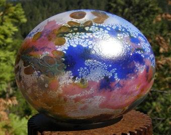 Flat glassballoon, Fumed Glassballoon, garden art, brilliant colors, one of a kind