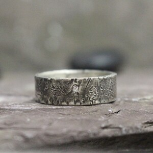 Made to Order Flush Set Diamond /& Distressed Sterling Silver Band