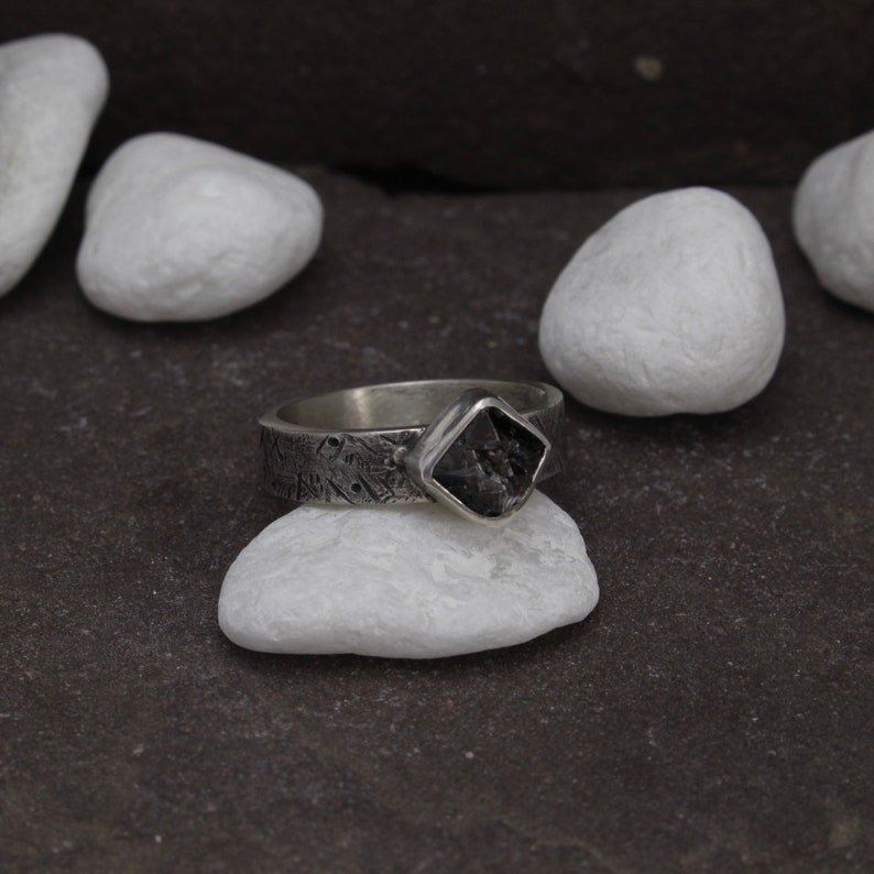 Distressed Textured Rustic Ring Sterling Silver Black Rough Diamond Ring