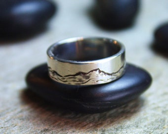 Green Mountains Band, Hand-Engraved Sterling Silver