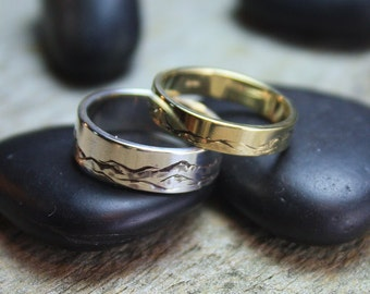 Green Mountains Band, Hand-Engraved 14k Gold - 4mm Band