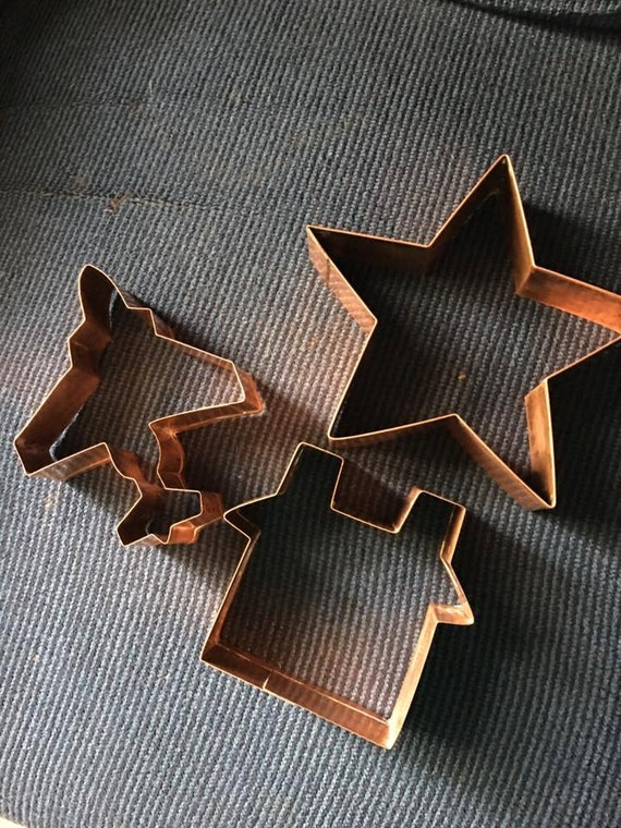 Set Of Three Vintage Brass Cookie Cutters Large Star House Etsy