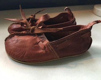 vintage Antique Leather child's shoes  handmade European children