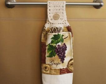 Wine Country Crocheted Top Towel-KOE10