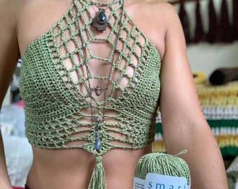 Boho Goddess Crop Top, Crochet crop top pattern, boho crochet pattern, bohemian clothing, crochet halter top, hippie crochet, crochet top