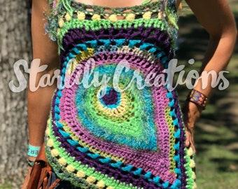 Peacock top crochet pattern, festival top, bohemian top, wearable art, OOAK, crochet halter top, womens crochet top