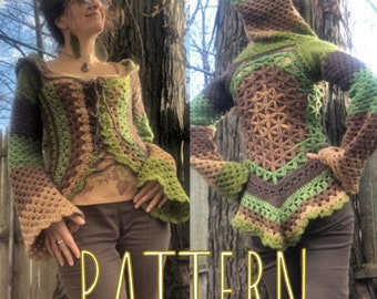Flower of Life, hooded jacket,  crochet pattern, Fae vest, oversized hood, bohemian clothing, boho clothes, women's crochet, elven, hippie