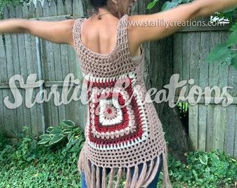 Funky Fringe crochet vest