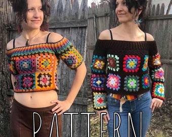 Retro Granny Square crochet sweater/croptop pattern
