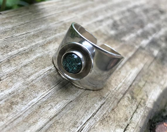 Wide Silver Dichroic Glass adjustable Ring