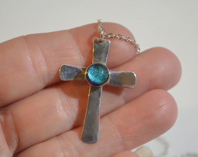 Cross with Brilliant Blue Center, Hand Forged Sterling Silver