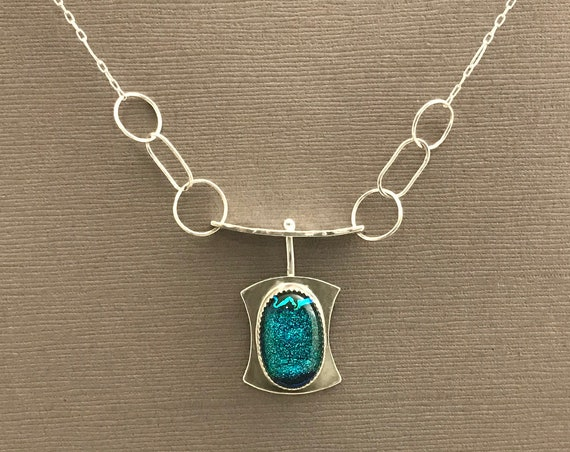 Fiery Blue Dichroic Glass Spin Pendant