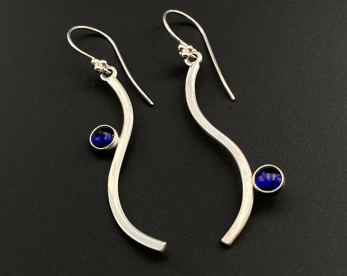 Meander Earrings with Sapphires