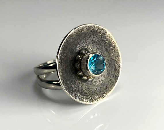 Domed Crater Blue Zircon Statement Ring
