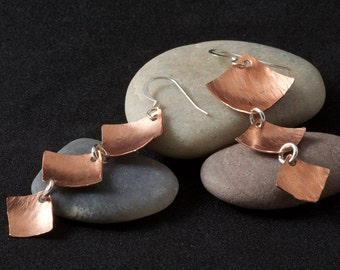 Tri-Tiered Textured Copper Dangle Earrings