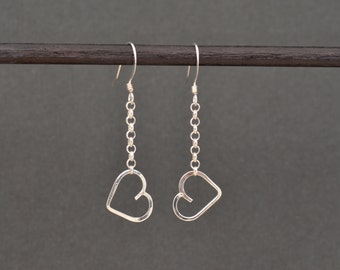 Heart Dangle Earrings Sterling silver