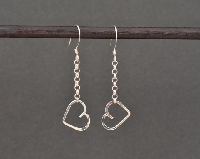 Featured listing image: Heart Dangle Earrings Sterling silver