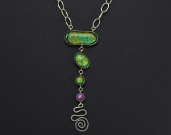 Radiant Green & Purple Five Piece Drop Necklace