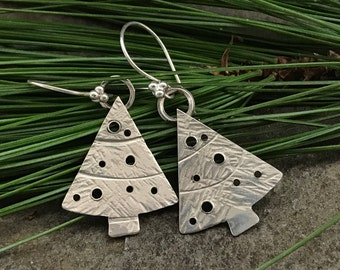 Christmas Tree Earrings sterling silver
