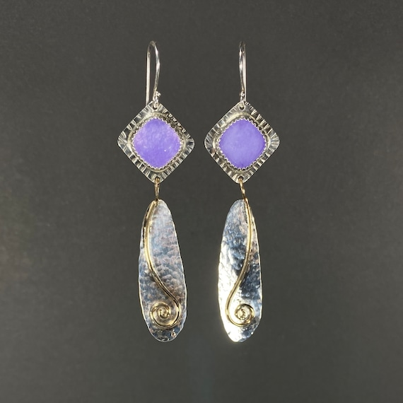Purple Chalcedony Earrings with Gold Spiral
