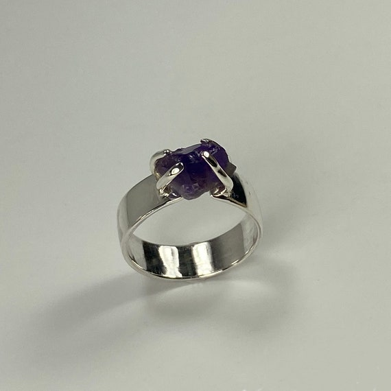 Raw Amethyst wide band Ring