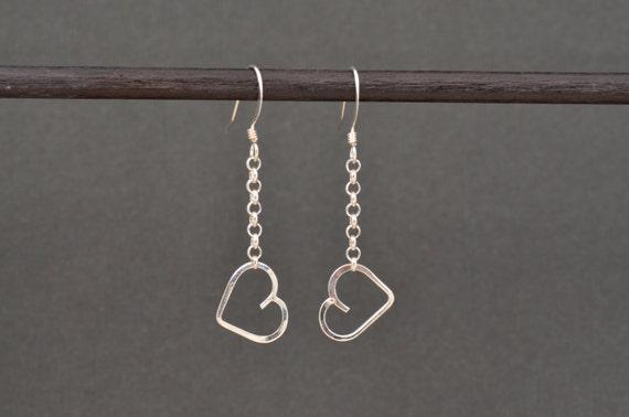 Heart Dangle Earrings Sterling silver